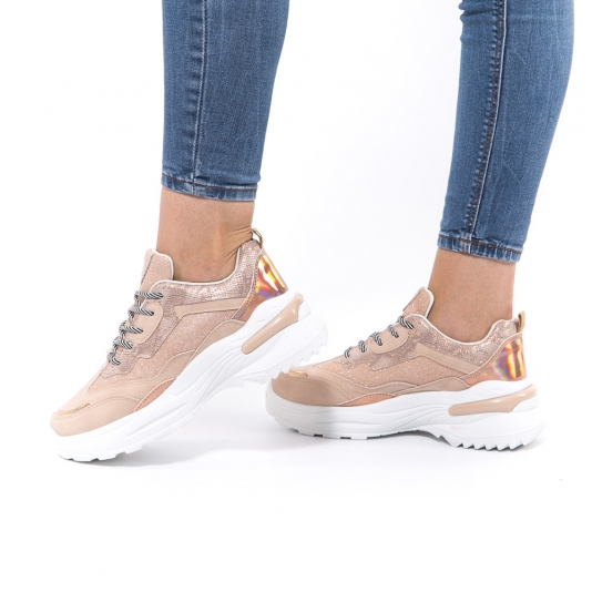 Sneakers με συνδυασμό υλικών