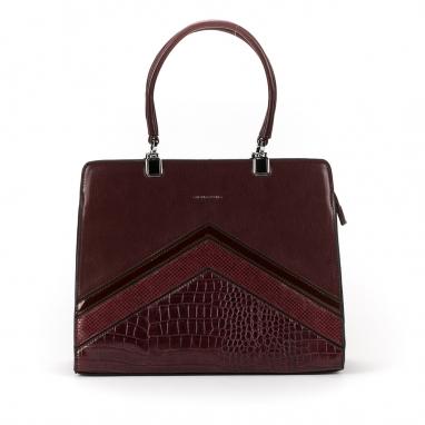 Τσάντα με λεπτομέρειες croco και λουστρίνι