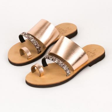 Ελληνικά δερμάτινα σανδάλια με glitter