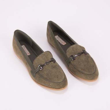 Suede loafers με μεταλλική λεπτομέρεια