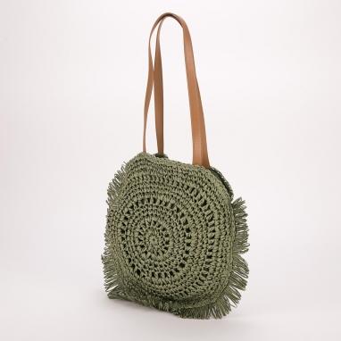 Στρογγυλή ψάθινη τσάντα ώμου