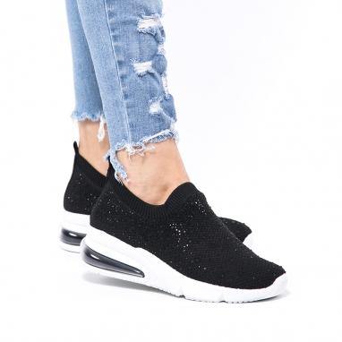 Μαύρα knit sneakers με στρας