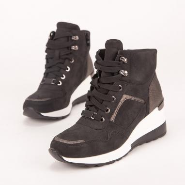 Sneaker μποτάκι με κροκό λεπτομέρειες.