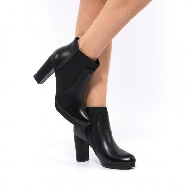 Ankle boots με χοντρό τακούνι και λάστιχο