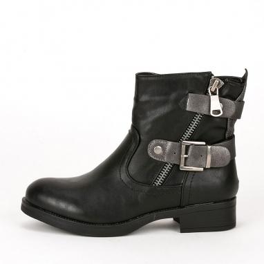 Biker boots με διπλό ζωνάκι