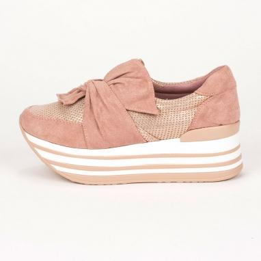 Flatform sneakers με φιόγκο