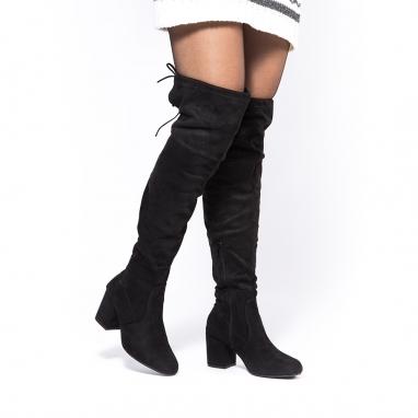 Suede over the knee μπότες με τακούνι