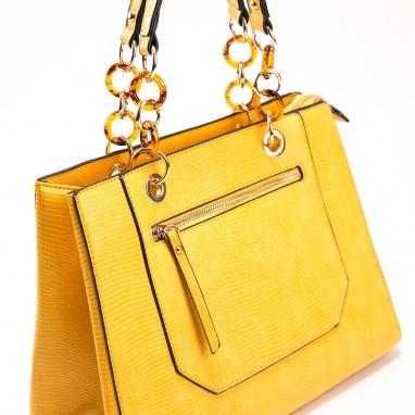 Τσάντα χειρός με κροκό υφή